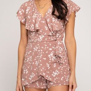 Pants & Jumpsuits - PRINTED WOVEN SURPLICE ROMPER WITH LINING AND RUFF